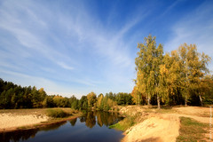 Autumn on forest river (gráce) Tags: autumn trees sky fall nature water clouds forest river landscape sand bank riverscape