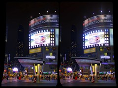 Toronto's Yonge-Dundas Square 3D ::: DRi Stereoscopic Cross-View (Stereotron) Tags: 3d 3dphoto 3dstereo 3rddimension spatial stereo stereo3d stereophoto stereophotography stereoscopic stereoscopy stereotron threedimensional stereoview stereophotomaker stereophotograph 3dpicture 3dglasses 3dimage crosseye crosseyed crossview xview cross eye pair freeview sidebyside sbs kreuzblick hyperstereo twin canon eos 550d yongnuo radio transmitter remote control synchron in synch kitlens 1855mm tonemapping hdr hdri raw cr2 availablelight north america canada toronto yongedundas square architecture contemporary modern display 100v10f