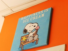 """Happiness is Ice Cream"", Snoopy, February 2017 (allanmaciver) Tags: snoopy charlie brown charles happiness ice cream orange blue colours beagle cartoon peanuts allanmaciver aberdeen north east grampian region schulz"