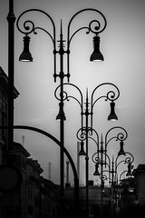 Urban Arabesque (Stefano Avolio) Tags: lampioni streetlamps roma rome biancoenero bianconero monocromo bw blackwhite blackandwhite savolio stefanoavolio silouhette profilo lamppost streetlight luci sera
