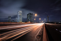Light trails (Patrick Foto ;)) Tags: abstract auto automobile background bangkok blur car city concept copyspace dark downtown driving evening exposure fast highway lane light lights line long motion motorway movement night red road sky speed street thailand time traffic trail transport transportation travel twilight urban vehicle krungthepmahanakhon th