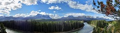 Scenic Bow Valley Parkway - Panorama - Banff National Park, Alberta, CA (André-DD) Tags: cans2s canada kanada urlaub vacation alberta herbst fall autumn outdoor clouds mountain landscape hill mountainside banff national park banffnationalpark nationalpark bäume baum tree trees serene mountains berge berg natur nature wiese meadow bowvalley bowvalleyparkway sonne sun bowriver river fluss kurve bend panorama railroad schienen tracks eisenbahn