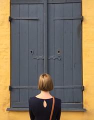 Outlook (Peter Sillitoe) Tags: denmark copenhagen back blue shutters yellow window 2017 iphone outlook josephine joanne