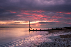 Pink Highlights (Sunset Snapper) Tags: pinkhighlights sunset sandypoint haylingisland hampshire southcoast uk beach sand pink shingle groyne clouds lowtide reflections longexposure filters lee littlestopper nd grad nikon d810 2470mm drama seascape march sunsetsnapper