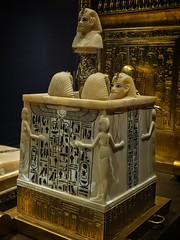 Calcite canopic chest found inside the canopic shrine in King Tutankhamun's tomb New Kingdom 18th Dynasty Egypt 1332-1323 BCE (mharrsch) Tags: king pharaoh tutankhamun newkingdom 18thdynasty egypt 14thcenturybce ancient calcite shrine gravegoods funeraryart canopicchest tomb