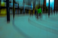 Man on a bike. ICM (Snipsnapper. Back after a long absence, long story) Tags: man abstract ridingabike icm stpeterssquaremanchester tram manchester tracks posts rails bicycle contemporary offthewall onthewall