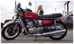 Time for tea..... (The Landscape Motorcyclist) Tags: suzuki gt750 kettle stroker 2stroke 3cylinder bikergirl smile blondie