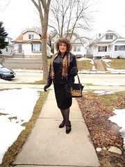 This Being Sunday Morning, The Question Is: (Laurette Victoria) Tags: sidewalk woman brunette curly purse jacket laurette milwaukee gloves scarf pencilskirt