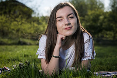 Nice Smile (MX Man) Tags: fuji xt 2 fujinon 56 mm f12 godox ad 600 bm ft 16 one strobe pony strobist girl pretty gorgeous woman teenager sixteen smile eyes grass sunny spring time backlit