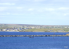 Holm Parish Viewed From Burray Island (orquil) Tags: holmparish holm village stmarys seaside houses eastmainland foreground northsea weddelsound old ww2 defensive blockship shipsmast numbertwo churchillbarrier worldwar2 causeway concrete blocks ongoing vehiclecauseway former scapaflow shippingchannel rural fields sunny blue sea april afternoon spring sunshine orkney islands scotland uk unitedkingdom greatbritain orcades interesting historic ww2defences colourful unusual