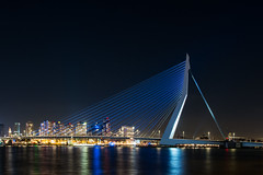 Rotterdam by night (Jaco Verheul) Tags: d7100 jaco nikon rotterdam verheul night tripod zuidholland nederland nl 1685 erasmusbrug bridge skyline river city cityscape landscape waterscape waterfront water bay zwaan lights blue reflection