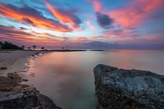 Akumal Sunrise (Brian Krouskie) Tags: mexico sunrise grande sirenis riviera maya resort caribbean shore coast water clouds sky rock formation outdoor landscape akumal bay beach longexposure