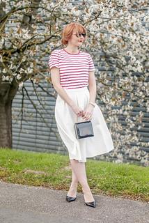 Perfect spring outfit: Red Breton stripe t-shirt \ white full midi skirt \ black d'Orsay patent heels \ tortoiseshell sunglasses \ black box handbag | Not Dressed As Lamb