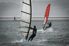 Sunday morning windsurfing... (Brian Negus) Tags: windsurfer westkirbymarinelake westkirby speed wirral seaside watersport sport dogwalker wind