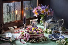 Traditional Easter Simnel Cake. (memoryweaver) Tags: embroidery tabletop linen antique simnel homemade springtime memoryweaver tulips flowers reflection raindrops rain window baking cake simnelcake easter