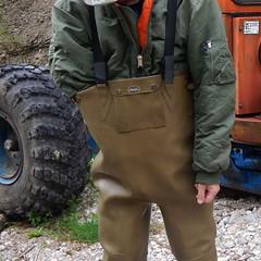 Chameau-oliv-Baustelle7406 (Kanalgummi) Tags: sewer worker rubber waders chestwaders wathose bomber jacket bomberjacke kanalarbeiter égoutier