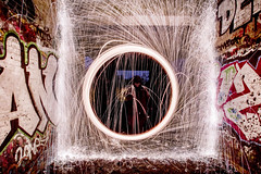 The open portal. (Colour version) (Sean Hartwell Photography) Tags: wire wirewool fire spark spinning circle square geometry uxbridge london ur urban graffiti grit grime gritty