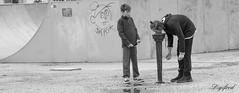 Amsterdams waterhappertje. (Digifred.) Tags: digifred 2017 amsterdam nederland netherlands holland straat street city grachten streetphotography blackwhite blackandwhite iamsterdam canals pentaxk3 monochrome youth boys drinkfonteintje drinkingfountains fun friends kids