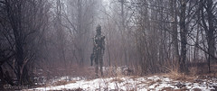 The Stranger in the Woods (Avanaut) Tags: ig88 sideshow collectible actionfigure miniature fog originality avanaut woods snow starwars theempirestrikesback droid mist hottoys 16thscale cinema cinematic