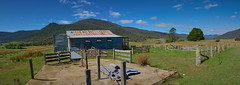 Ororral Valley Woolshed (RobMacPhotography) Tags: architecture woolshed ororral valley corrugated iron rust grass ruins fence blue sky canberra act australia green panorama building shed shearing old sony a6000 rob mac photography sheep dip posts rustic