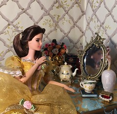 A Reflection of Beauty (MaxxieJames) Tags: belle beauty beast disney princess mattel barbie custom doll mrs potts chip plumette mirror dressing table ballgown enchanted objects palace friends hasbro