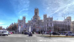 Plaza de Cibeles (Vasil Gochev) Tags: plaza de cibeles banco españa madrid spain trip travel traveler sky clouds art buildings flags cars outdoor landscape color photography sunny day urban metropolis street inspirational photo architecture europe city center