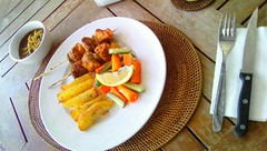 Grilled Chicken Skewer Peanut Butter by Julie, Seven Horses ID (juliakatin) Tags: food beverage service hotel restaurant sales marketing promotion promo seven horses sevenhorses photography graphic design computer videography photo photoshop foodphotography camera grilled chicken skewer peanut peanutbutter sauce healthyfood black fresh blackpepper freshfood tableset dinner lunch platter dishes potato potatowedges capsicum alacarte contrast art color cheese oregano garlic onion pineaplejuice