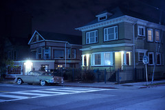 (patrickjoust) Tags: berkeley california gold car victorian house fujicagw690 fujichromet64 6x9 medium format 120 90mm f35 fujinon lens fuji chrome slide e6 color reversal expired discontinued tungsten balanced film cable release tripod long exposure night after dark manual focus analog mechanical patrick joust patrickjoust san francisco area east bay northern ca usa us united states north america estados unidos auto automobile vehicle parked