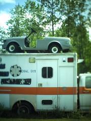 Junk Yard, Hortense, GA (fullcirclepiece) Tags: tiltshift yard junk georgia ga hortense ambulance