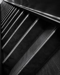 Philosophical (Douguerreotype) Tags: monochrome abstract diagonal underground city bw uk geometry escalator metro british mono stairs blackandwhite gb subway britain england london geometric urban steps tube