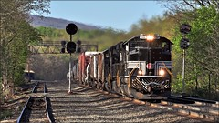 14G: Morning Freight (Images by A.J.) Tags: train railroad railway rail transportation freight pennsylvania newyorkcentral heritage norfolksouthern signal prr torrance laurel highlands pittsburghline control point pack emd sd70ace