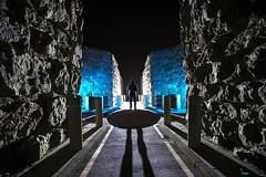 The Quarryman (Waving lights in the dark) Tags: quarry silhouette backlit backlight modernart artinstallation publicart geology earth rocks ancient collaboration sonya7 sonyzeiss dark afterdark night nightphotography