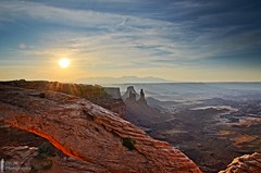 Mesa Arch View (Dr. M.) Tags: arch mesaarch airporttower washerwomanarch canyonlands national park sunrise sun light clouds sunstar tree vivid colorful canyons valleys nikon d7000 travel hike landscape scenery orange sky green 500px utah hdr