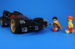 Let's Take it for a Spin (MrKjito) Tags: lego miinifg super hero comics comic robin kid flash dc batmobile dick grayson wally west sneaking ride