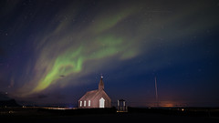 Northern lights - Budir, Iceland - Travel photography (Giuseppe Milo (www.pixael.com)) Tags: night landscape budir church nature stars lights aurora astronomy auroraborealis travel borealis sky green iceland westernregion is northern onsale