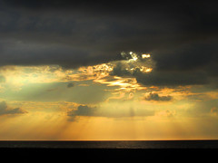 Sunset and Rays of Light on a Cloudy Sky (shaire productions) Tags: sky image heavens picture photo photograph clouds cloudy nature heanvens sun sunny sunset sunrise water sea ocean cuba marine marina imagery light rays raysoflight beauty hope