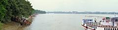 Mahalaya Tarpan 2014 (pallab seth) Tags: people panorama india nikon riverside culture gathering ritual tradition riverbank kolkata bengal puja rites ganga durgapuja ganges offerings ghat tarpan 2014 mahalaya pitripaksha  bagbazarghat