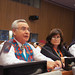 Jefferson Keel, Lieutenant Governor of the Chickasaw Nation and Jackie Johnson Pata, executive director, National Congress of American Indians. Sept. 22, 2014. U.N. headquarters. Photo by Jared King.