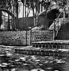 St Marys Stairs BW (film) (henk.sijgers (on and off)) Tags: wood light white black building brick 6x6 tlr film glass metal architecture md afternoon availablelight iso400 perspective foliage squareformat nik portra yashica scannedphoto 80mm stmaryscollege silverfast squareframe 80mmf35 bwartaward silverefex y124g
