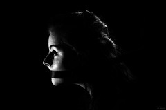 Pais (Krystan-Grace Photography) Tags: lighting blackandwhite woman home lamp girl face female hair studio nose eyes rope ribbon sideprofile