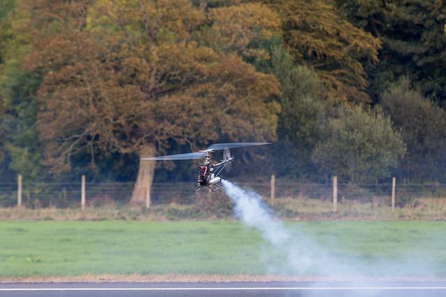 Dave test flying a nitro TREX.