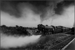 Departure (Pete Rowbottom - Pete37038) Tags: blackandwhite art monochrome train wow poster geotagged photography mono interesting artwork europe arty postcard exploring dramatic rail railway trains steam fave canvas explore impact advert getty dungeness marsh unusual dslr favourite istock blacknwhite drama interest impressive beautful steamtrain romney hythe lightrailway steamlocomotive d