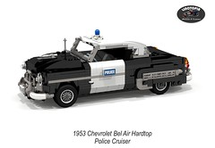 Chevrolet Bel Air Hardtop Police Cruiser - 1953 (Linotopia) (lego911) Tags: auto usa classic chevrolet hardtop belair car america model gm lego general render air police motors chevy chrome 1950s cop only six bel 83 coupe cruiser challenge lino cad 1953 lugnuts povray chev moc ldd stovebolt miniland onlyinamerica lego911 linotopia