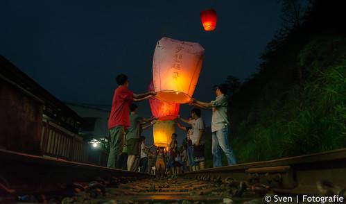 Sky Lanterns on the Pingxi Railway