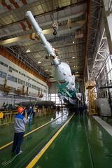 Expedition 41 Soyuz Rocket Assembly (sjrankin) Tags: edited nasa launch kazakhstan baikonur internationalspacestation baikonurcosmodrome roscosmos finalassembly soyuzrocket expedition41 russianfederalspaceagencyroscosmos soyu