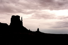 Monument Valley Butte Silhouette (Jay Costello) Tags: arizona blackandwhite bw silhouette clouds landscape az monumentvalley mittens