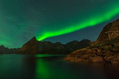 Flaming night (karorm) Tags: travel mountain water norway lofoten reine auroraborealis lofotenislands