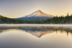 Our prayers should be for blessings in general, for God knows best what is good for us… (ferpectshotz) Tags: morning summer cold reflection fog oregon sunrise mthood stillness trilliumlake cascademountainrange