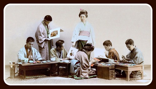 ARTISTS COLORING LARGE ALBUMEN PHOTOS in OLD 19th CENTURY JAPAN