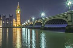 Westminster Bridge and Big Ben (gingerman) Tags: longexposure bridge reflection london clock westminster night river stars bigben gingerman westminsterbridge 1010 2014 2210 gingrrr